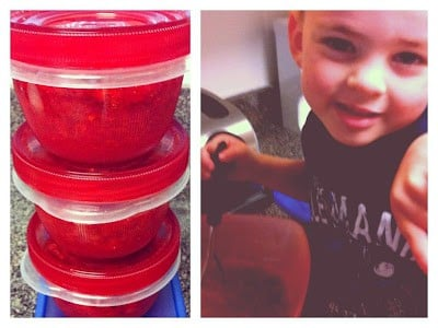 Homemade strawberry freezer jam in storage containers and a photo of a little boy helping make the jam.