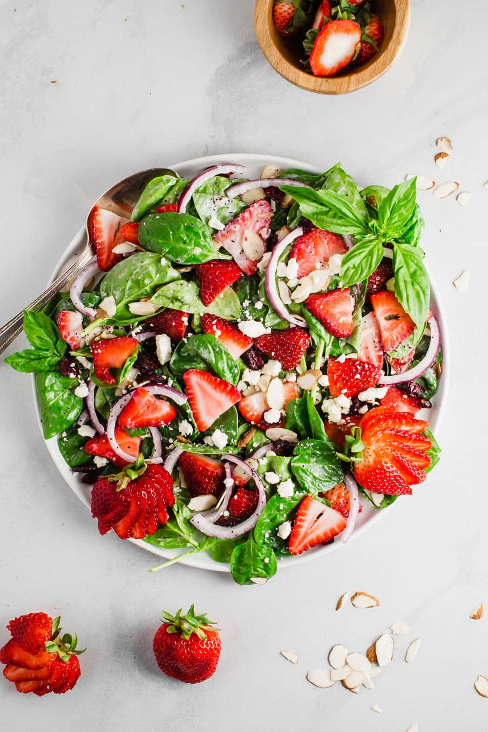 Strawberry Spinach Salad on a plate.