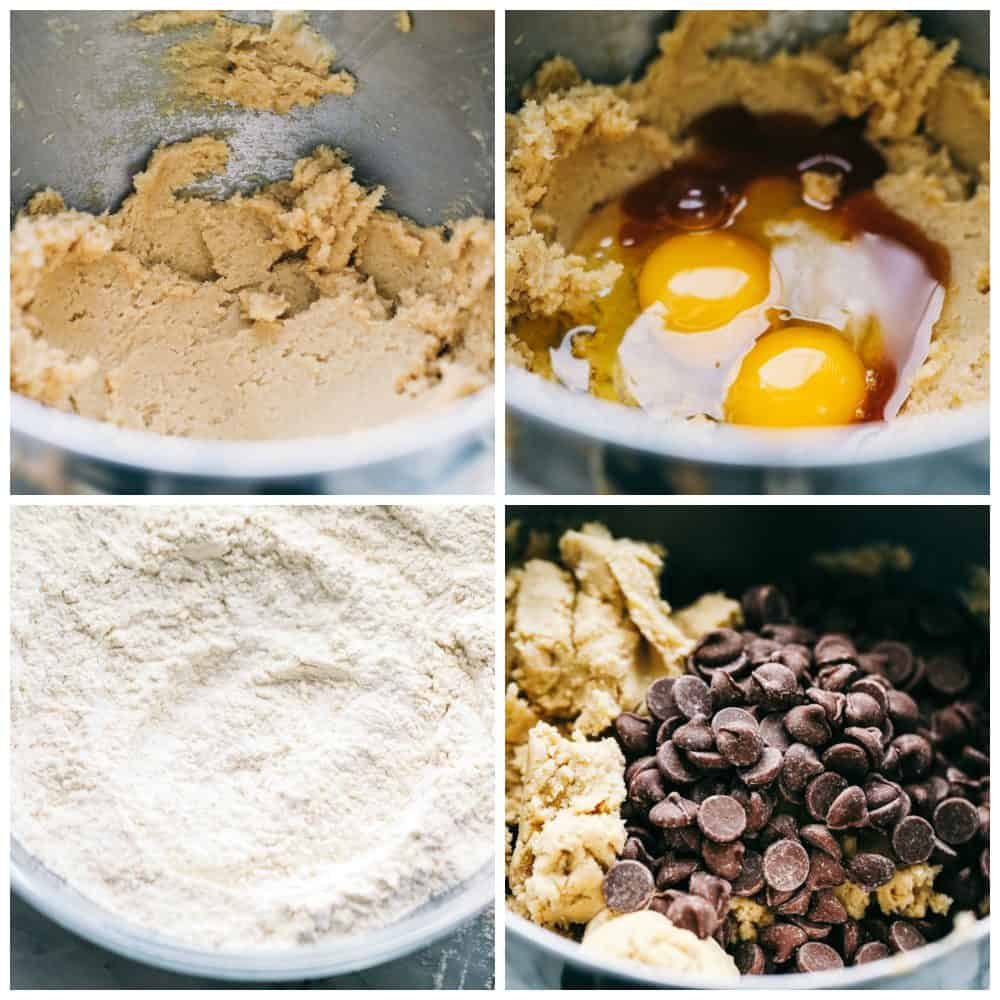 Steps to make chocolate chip cookies.