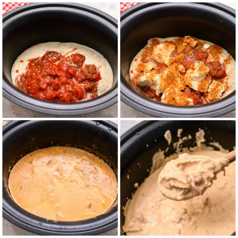 Slow cooker process of making salsa chicken in four photos.