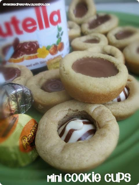 Mini Cookie Cups with a jar of Nutella in the background.