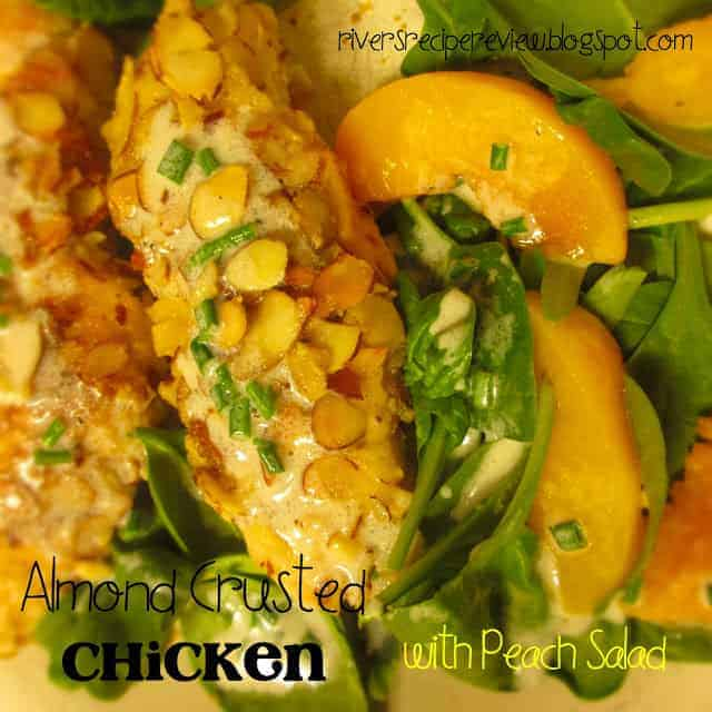 Almond Crusted Chicken with Peach Salad.