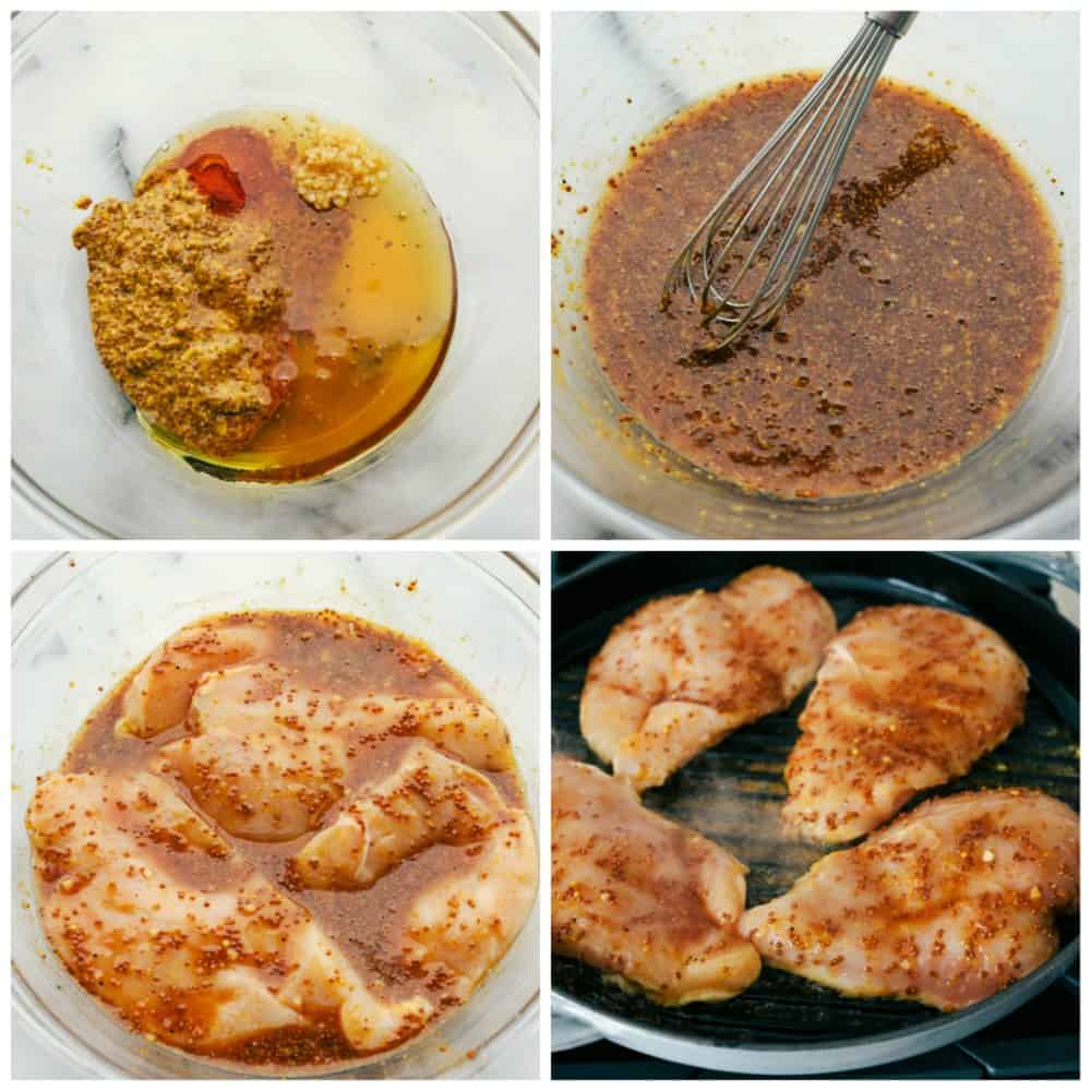 The process of whisking together the marinade then adding in the chicken and grilling it.