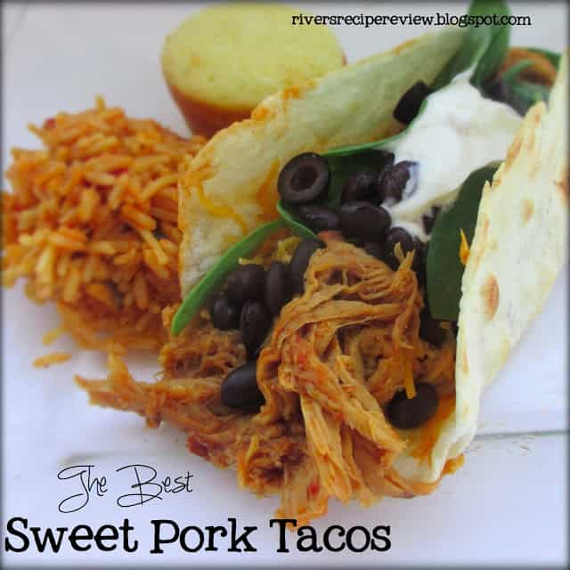 The best Sweet Pork Tacos with rice and bread on the side.