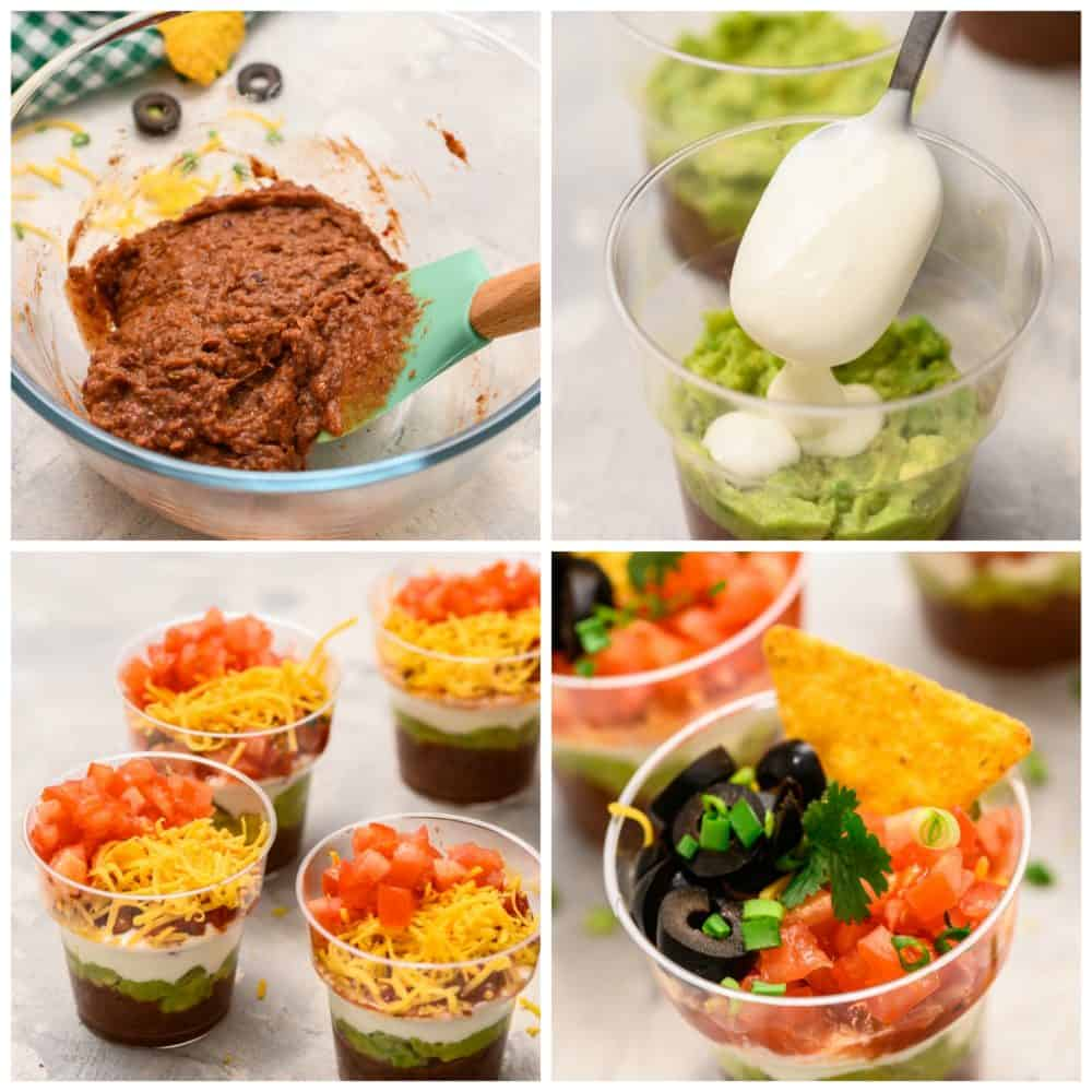The process of making refried beans, layering the individual cups, then having the cups together the adding the chip on top.