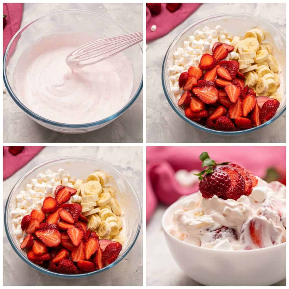 The process of making Strawberry Cheesecake salad in four photos.