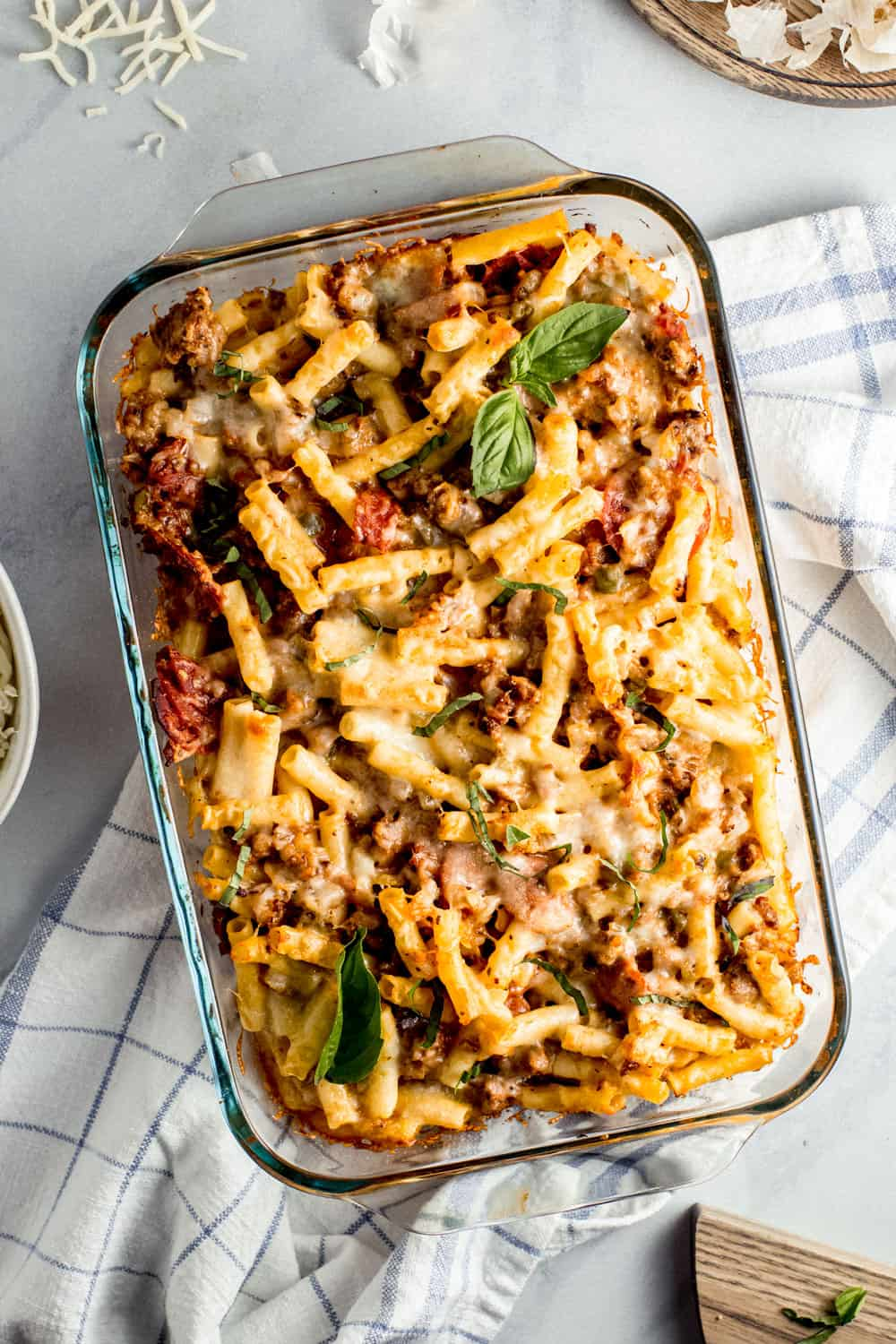 Cheesy Baked Ziti in pan
