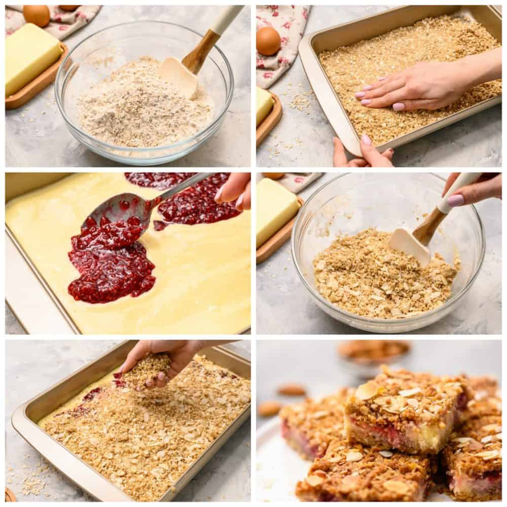 The process of making raspberry cheesecake bars with six steps of photos.