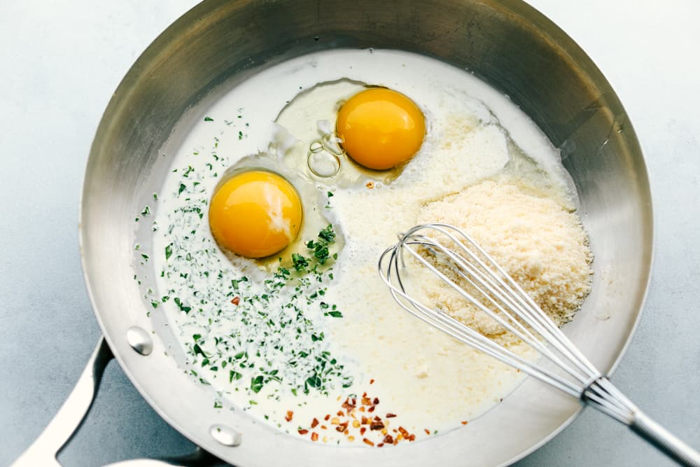 eggs and seasonings in a skillet