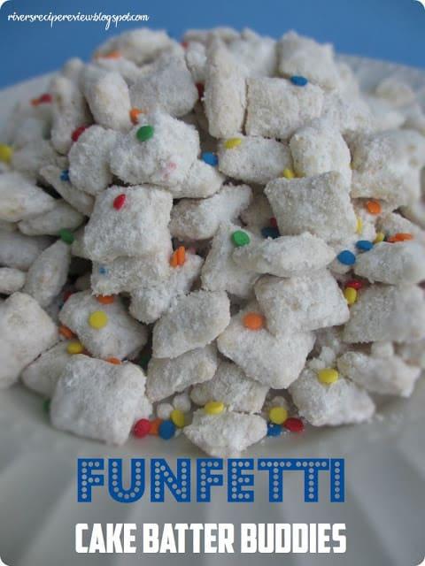 Funfetti Cake Batter Buddies on a white plate.