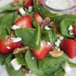 Strawberry Spinach Salad with Glazed Walnuts and Feta Cheese