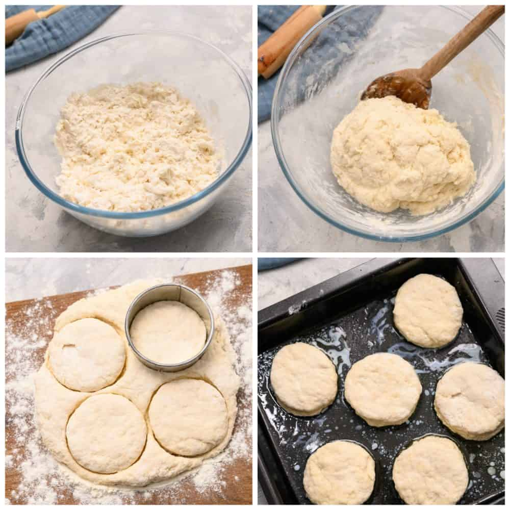The process of making 7 Up biscuits in a glass bowl, cutting out the circular then placed on a pan ready to bake.