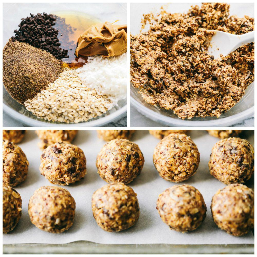 Steps to make No Bake Energy Bites.