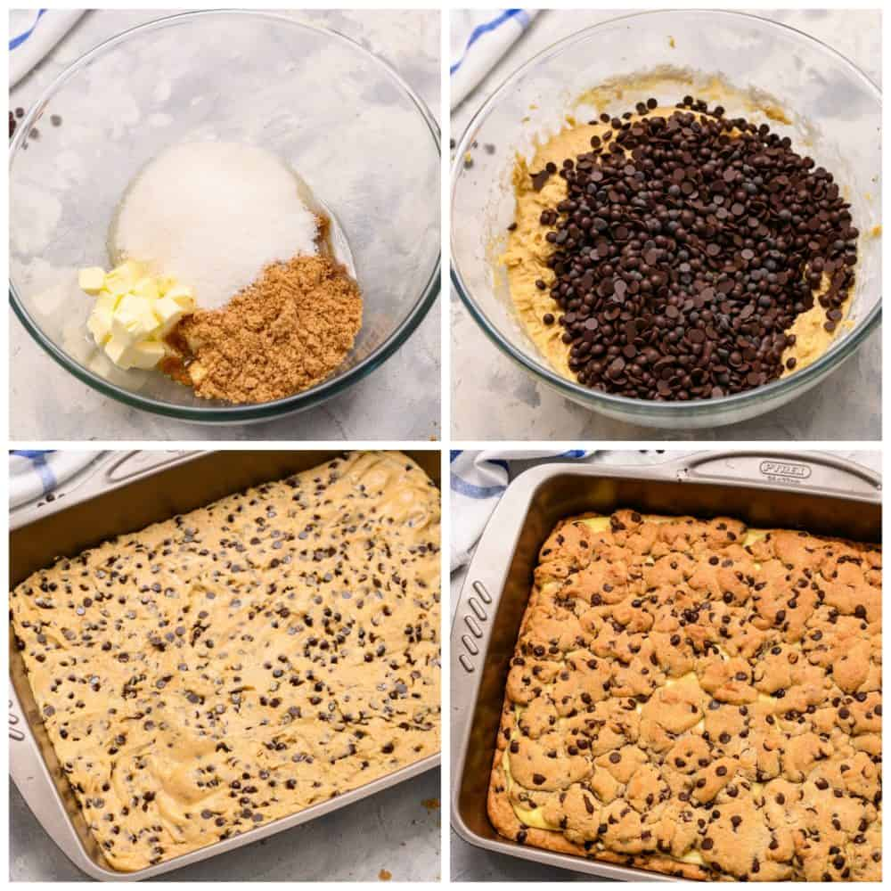 The process of making chocolate chip cheesecake brownies with four photos.