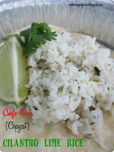 Caf rio copycat cilantro lime rice in a tin plate with a lime wedge on the side.