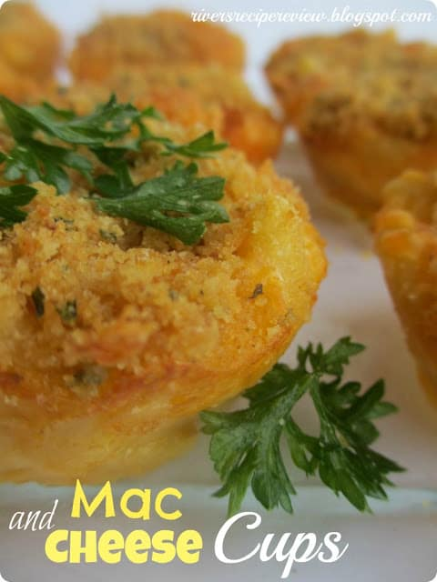 Mac and Cheese Cups on white plate.