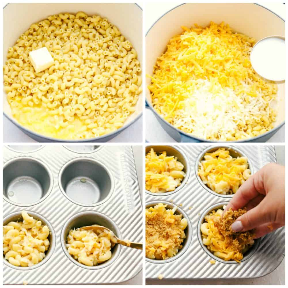 Steps to make mac and cheese cups.