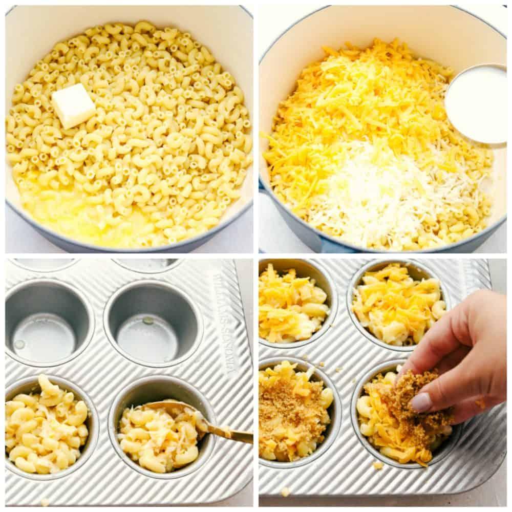 Étapes pour faire des coupes de macaroni au fromage.