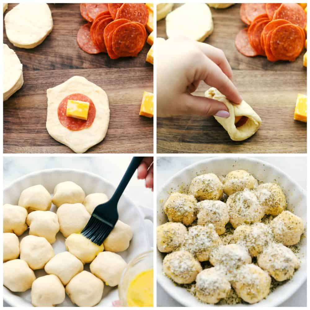 Making pizza bites in a pillsbury dough with a pepperoni and square of cheese then folded into a ball and placed in a baking skillet and brushed with egg wash over top with seasonings.