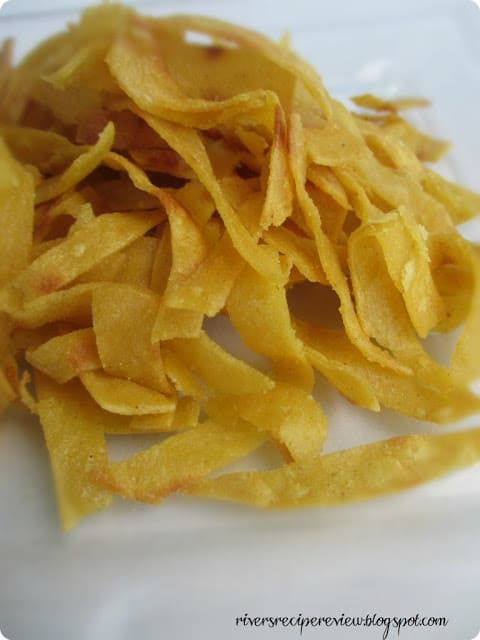 tortilla strips on top of each other.
