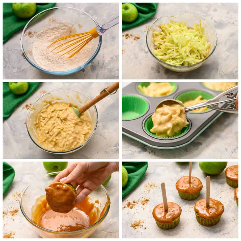 The process of making caramel apple pops.