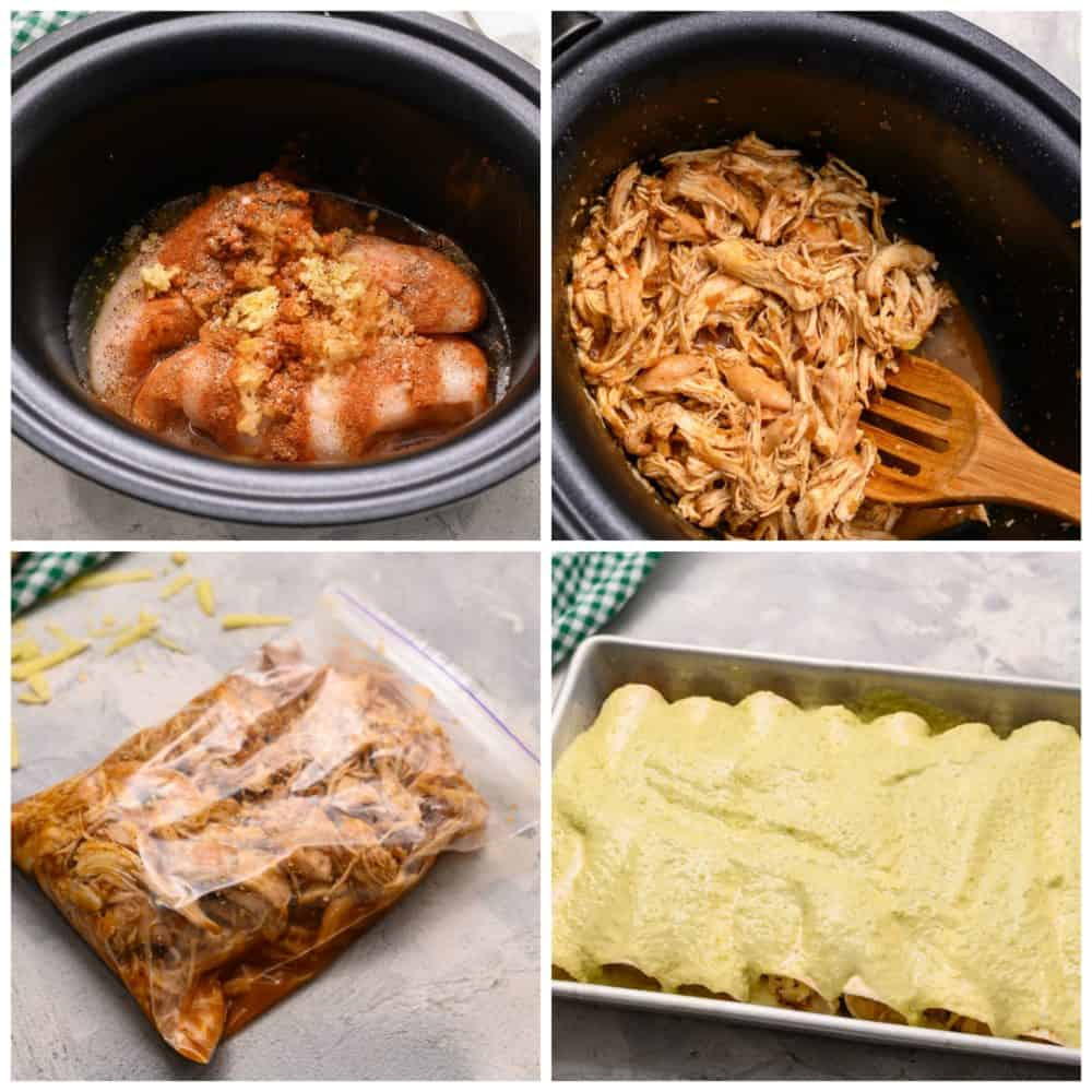 The process of making honey lime chicken enchiladas in a slow cooker.