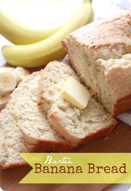 Bartan banana bread sliced with bananas in the background of the photos.