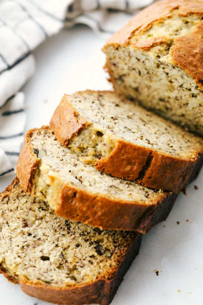 Banana Bread cut into thick slices.
