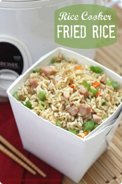 Rice cooker fried rice in a Chinese white box.