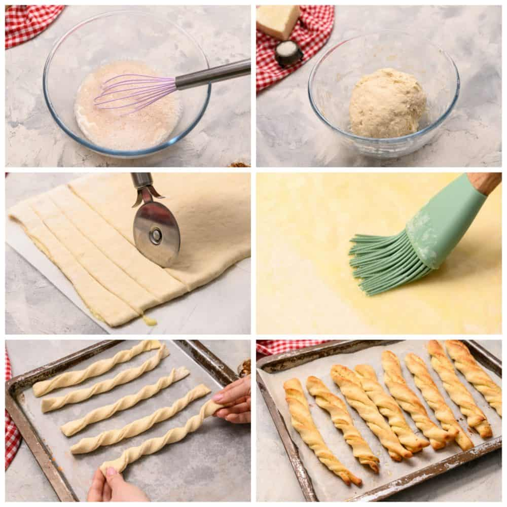 Steps to make breadtwists.