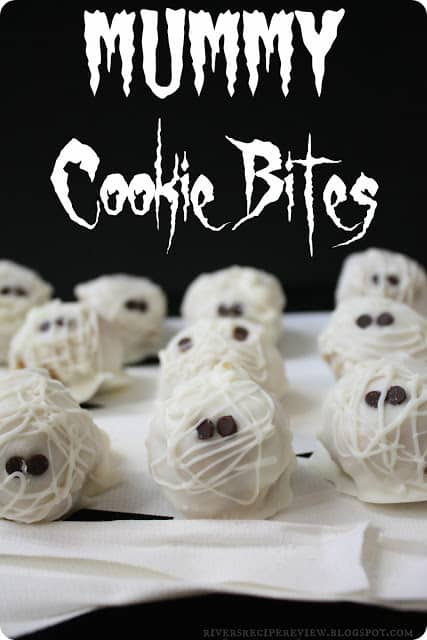 Mummy cookie bites on whit paper.