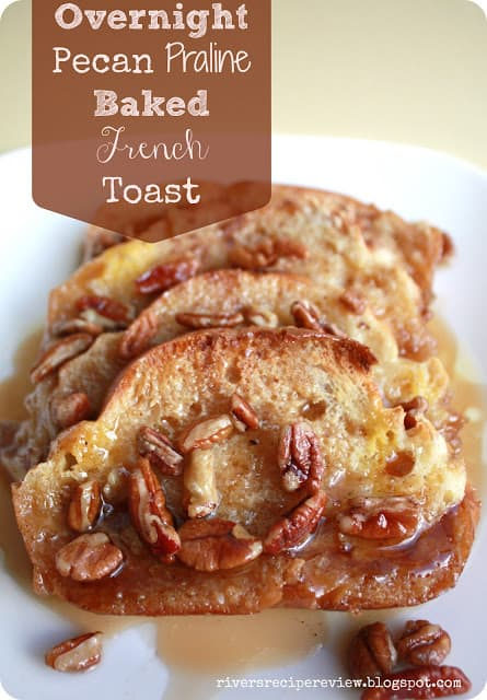 Overnight pecan praline baked French toast on a white plate.