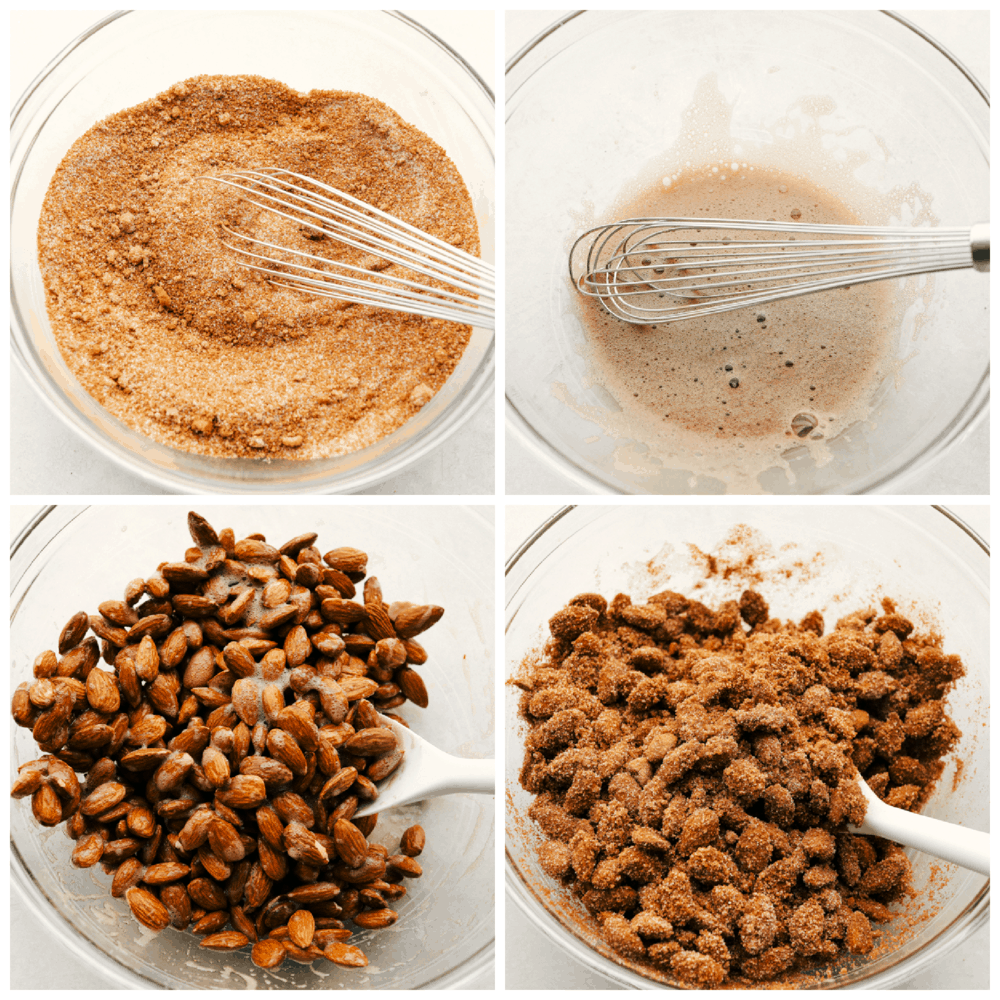 The process of mixing the cinnamon sugar, egg whites, and almonds for a sweet treat.