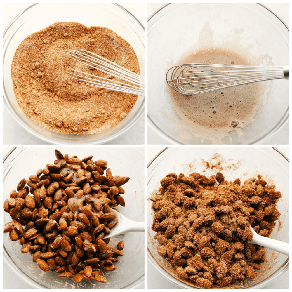 El proceso de mezclar el azúcar de canela, las claras de huevo y las almendras para obtener un dulce.