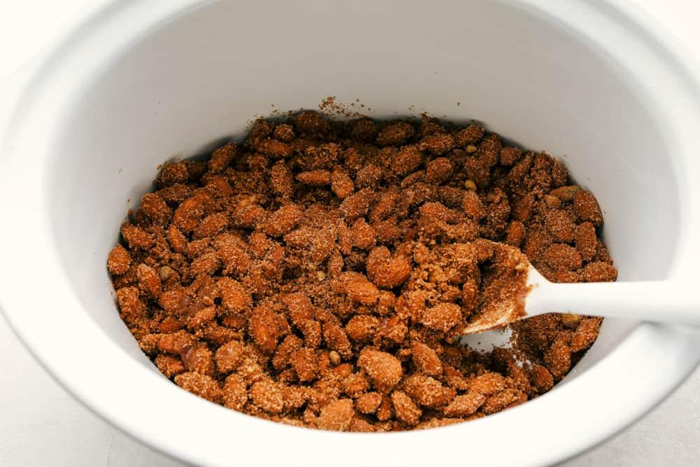 Cinnamon and Sugar Almonds in the crockpot.
