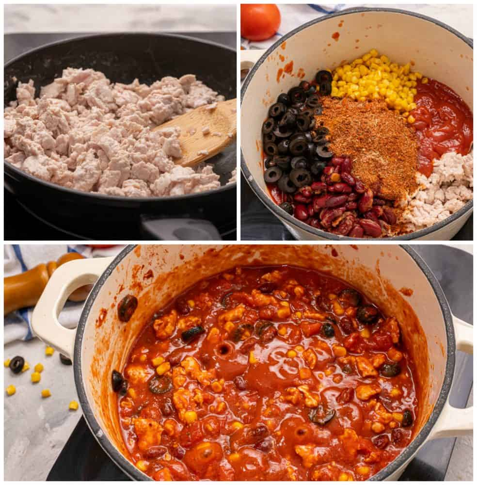 The process of making skinny taco soup.