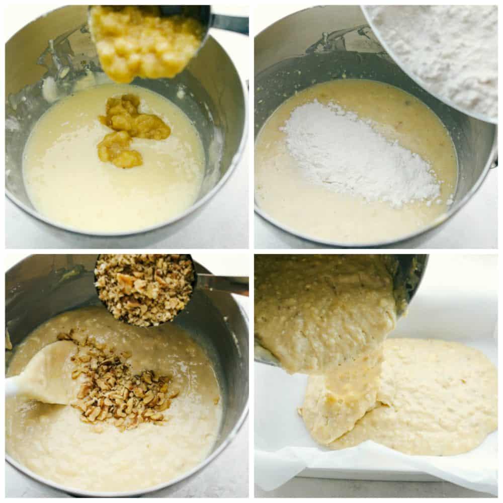 The process of making banana bars.