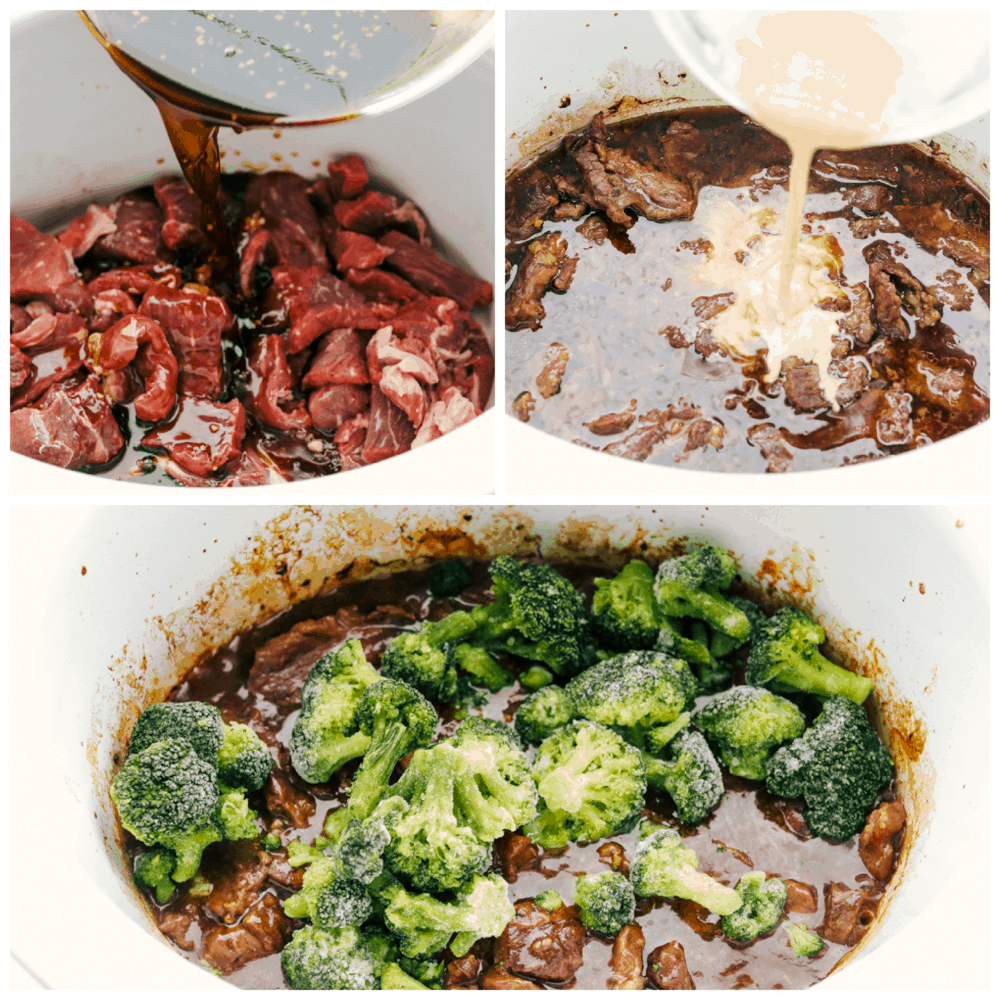 Adding the sauces to the beef n the slow cooker and then adding the broccoli.