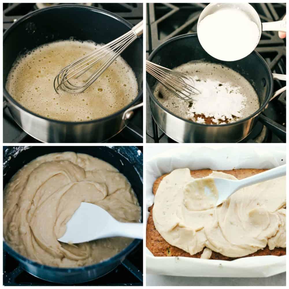 The process of making banana bread bars.
