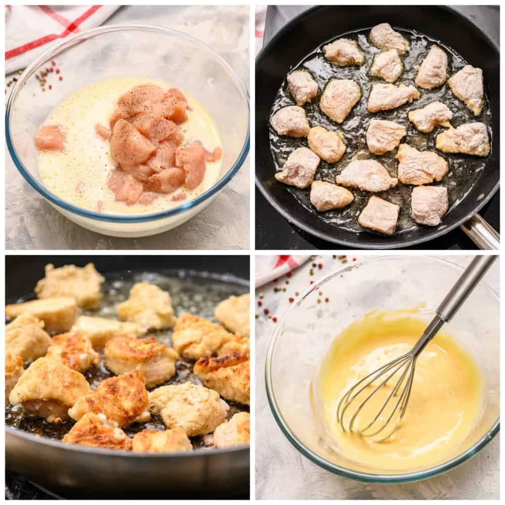 The steps to making chic fil a nuggets.