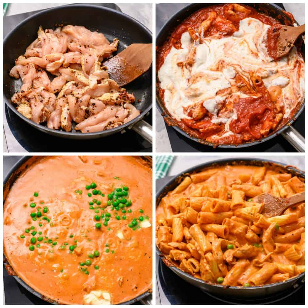 The process of making chicken rigatoni.