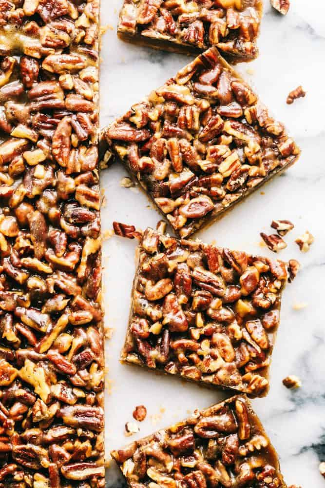 Cut Pecan Pie Bars.