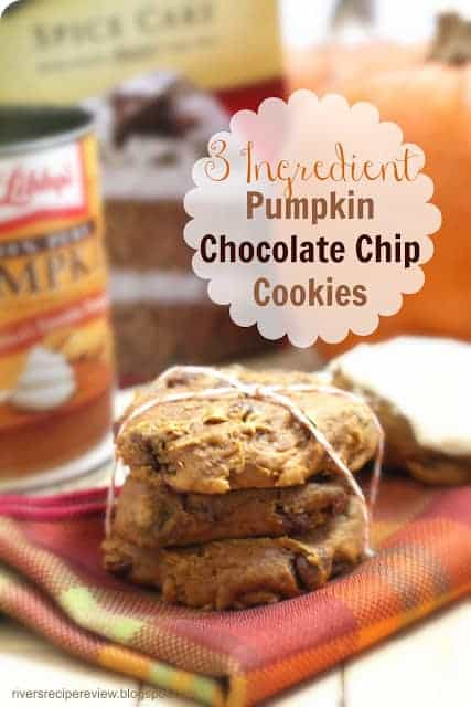 Pumpkin chocolate chip cookies stacked on top of each other.