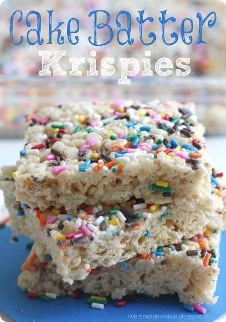 Cake batter Krispies stacks on top of each other.