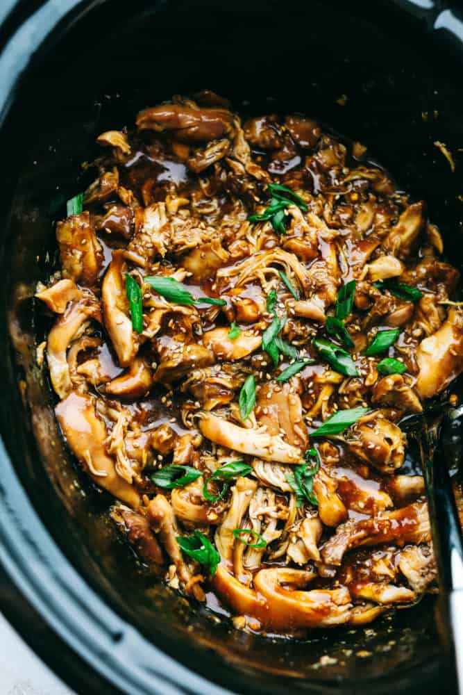 Slow Cooker Teriyaki Chicken in sauce in Crockpot.