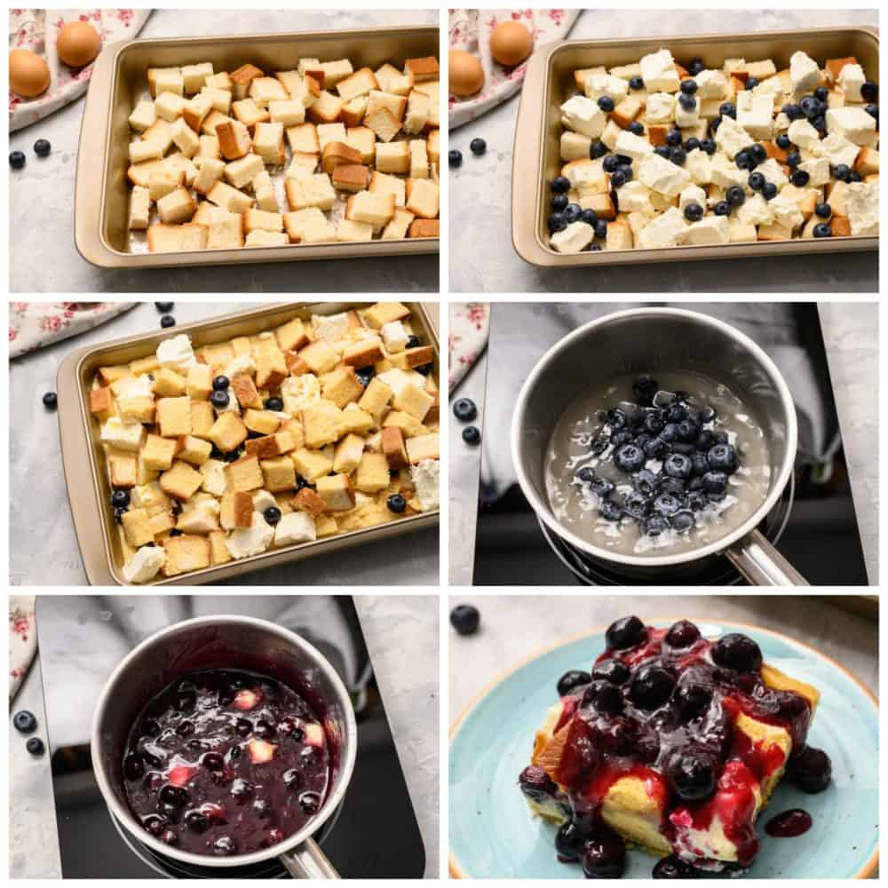 Overnight blueberry process in six photos. One photo showing the pan filled with bread squares, then adding blueberries. Next making a saucepan for the blueberry sauce overtop then ending with it all plated together.