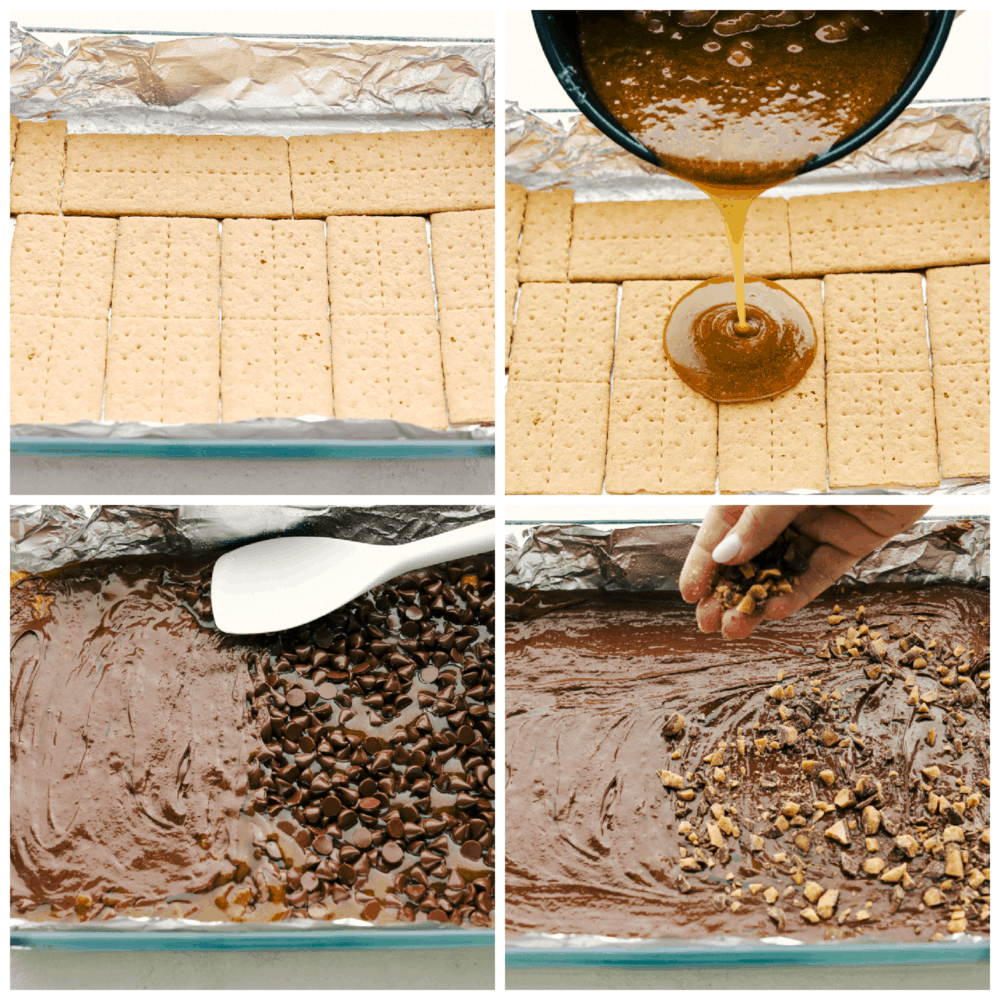 The process of making Graham Cracker Toffee.