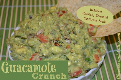 Guacamole crunch with roasted, seasoned sunflower seeds in a white bowl.