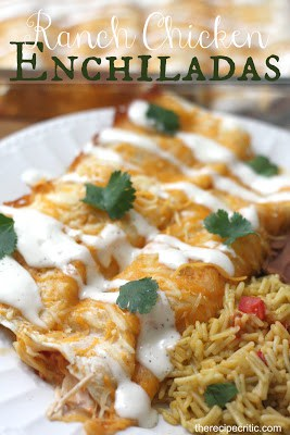 Ranch Chicken Enchiladas on a white plate with green garnish and a side of rice.