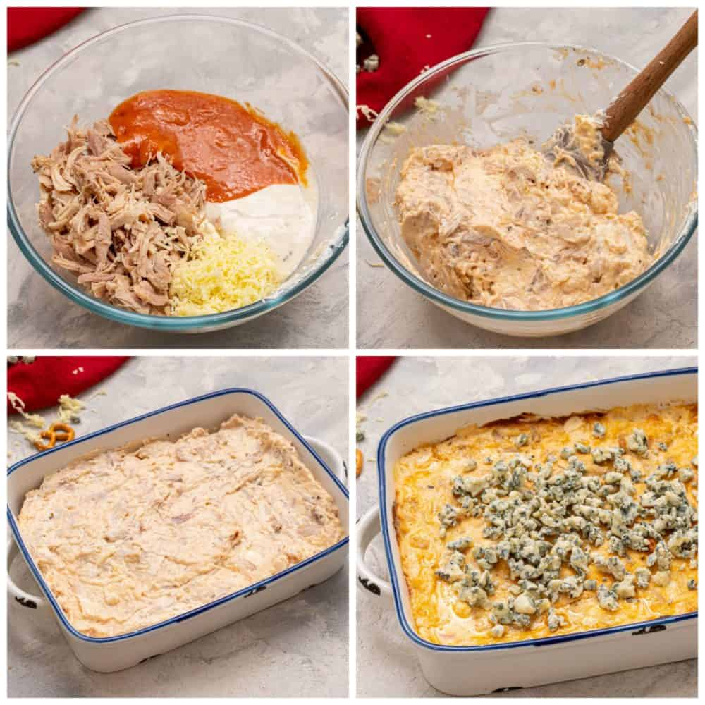 There are four pictures of the steps to make buffalo dip. In the first picture on the top left, there are ingredients, chicken, ranch, hot sauce and cheese in a clear glass bowl. In the second picture on the top right the ingredients have been mixted together with a wooden spoon. In the third picture, the ingredients are in the blue and white baking dish. In the final picture on the bottom right the buffalo dip is cooked and in a blue and white dish and blue cheese is sprinkled on top of the dip.